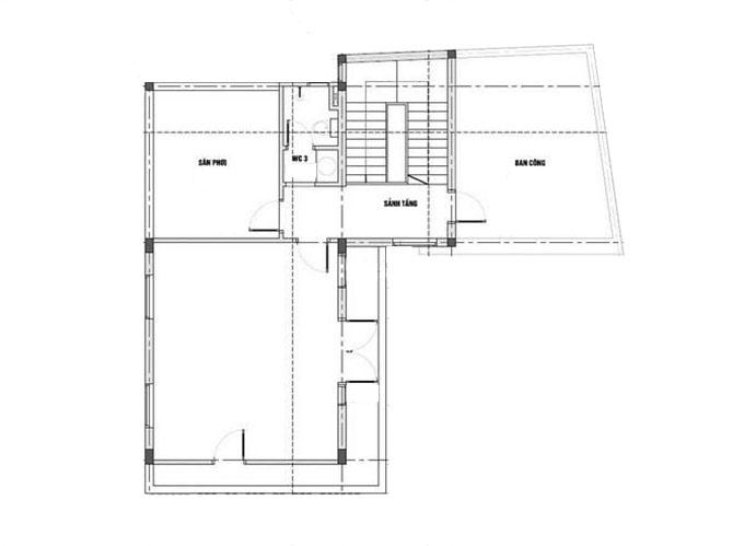 Mặt bằng tầng 3-Mẫu thiết kế biệt thự 3 tầng chữ L.