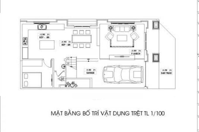 Mặt bằng tầng 1-Mẫu thiết kế biệt thự 3 tầng mặt tiền 8m.