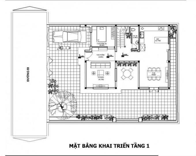 Mặt bằng tổng quan tầng 1-Biệt thự hiện đại 3 tầng 90m2.