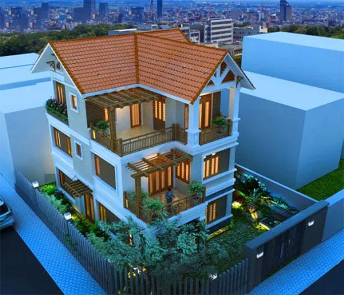 Mặt góc mẫu thiết kế biệt thự mái thái 3 tầng.