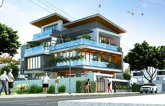 Mặt góc-Mẫu thiết kế biệt thự 3 tầng mặt tiền 8m.