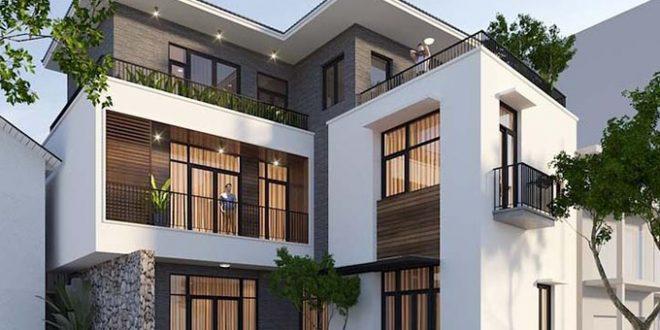 Góc 3-Mẫu thiết kế biệt thự 3 tầng chữ L.