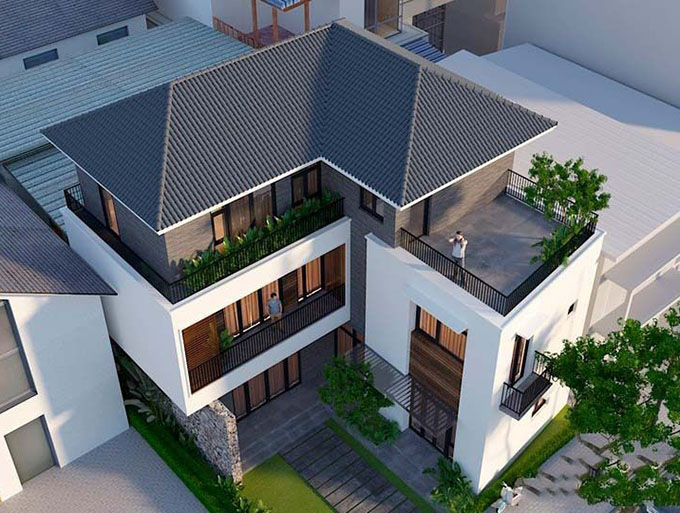 Góc 2-Mẫu thiết kế biệt thự 3 tầng chữ L.