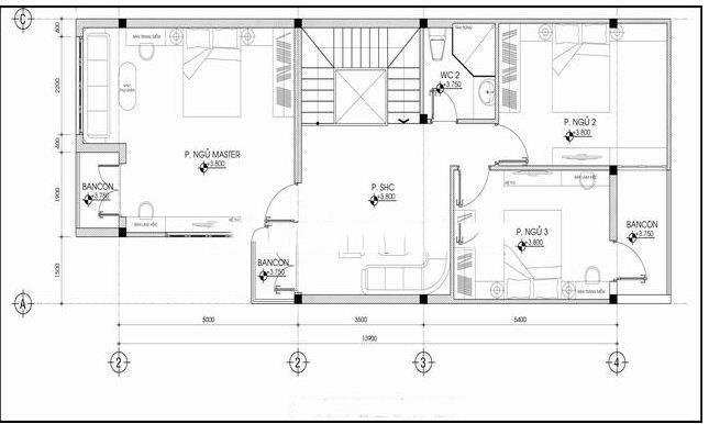 Mẫu biệt thự 3 tầng hiện đại chữ L 6x20,5m. 2