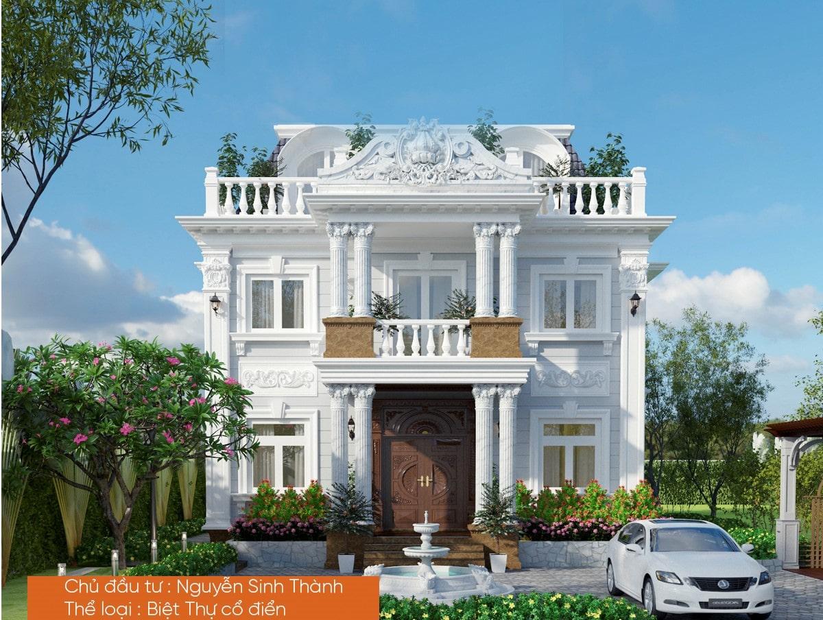 Mẫu biệt thự 3 tầng phong cách cổ điển tinh tế 2