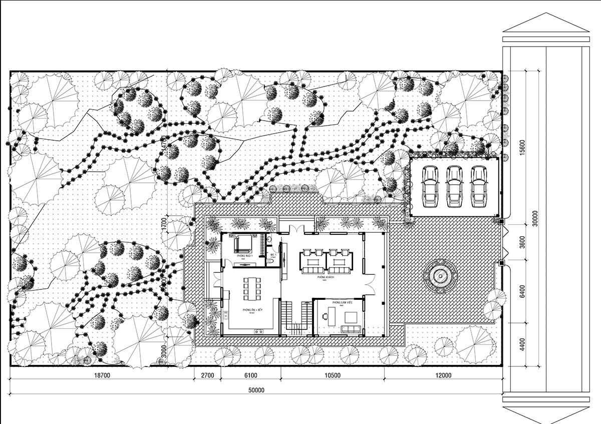 Mẫu biệt thự 3 tầng phong cách cổ điển - Mặt bằng tổng thể