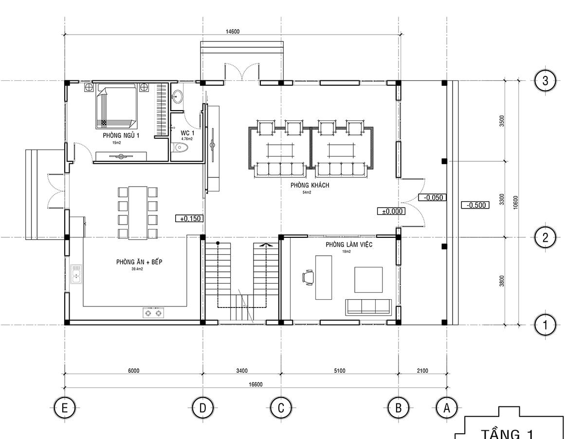 Mẫu biệt thự 3 tầng phong cách cổ điển - Mặt bằng tầng 1
