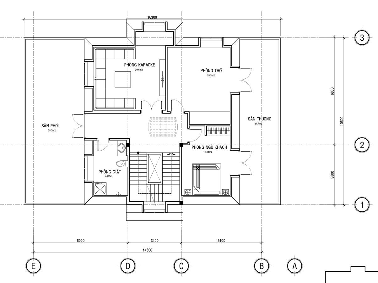 Mẫu biệt thự 3 tầng phong cách cổ điển - Mặt bằng tầng 3