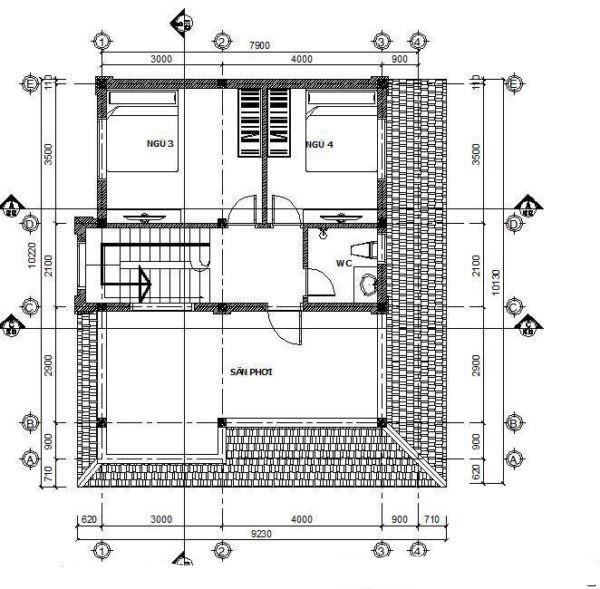 Mẫu biệt thự đẹp 2 tầng hiện đại 9x9m. 2