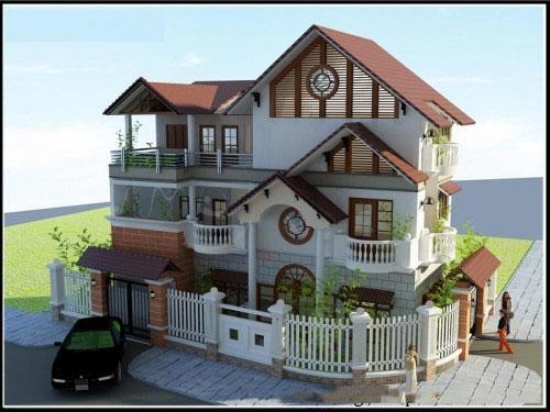 Mẫu biệt thự đẹp 3 tầng mái thái hiện đại