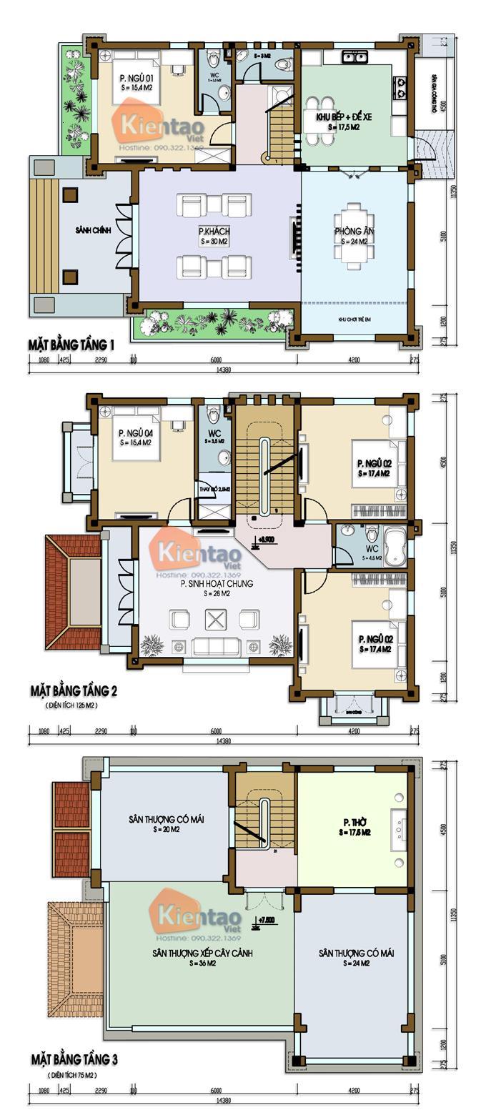 Mặt bằng chi tiết tầng 1+2+3 Phối cảnh kiến trúc mẫu thiết kế biệt thự đẹp 3 tầng