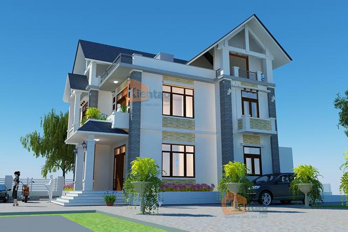 Phối cảnh kiến trúc mẫu thiết kế biệt thự đẹp 3 tầng