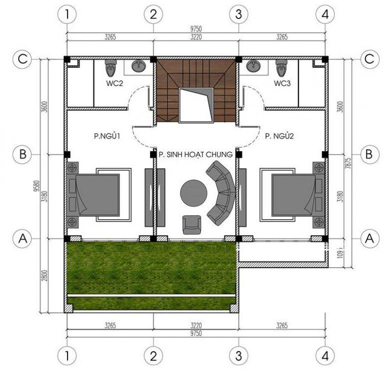 Mẫu biệt thự đẹp 4 tầng hiện đại 10x8m. 2