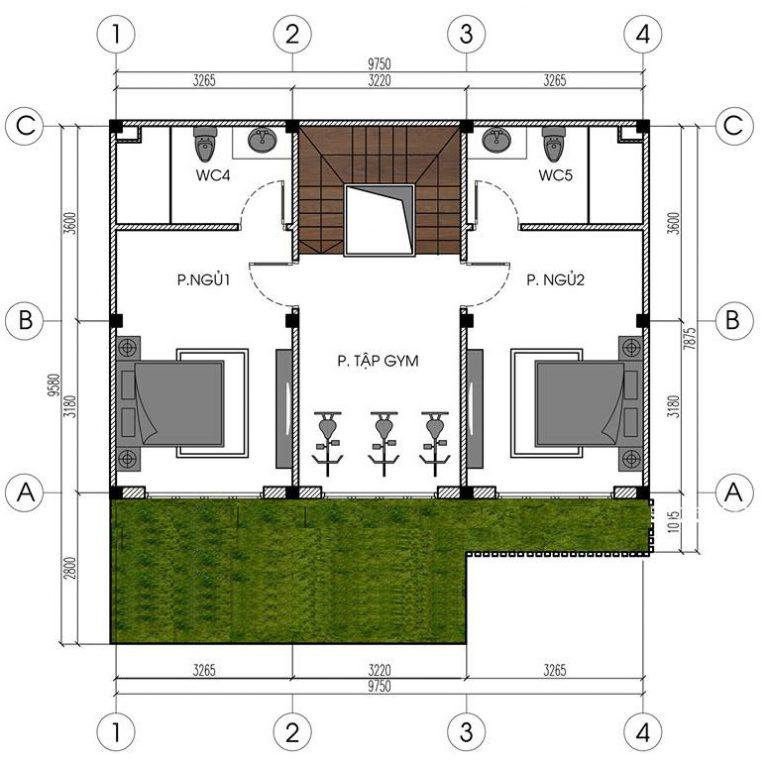 Mẫu biệt thự đẹp 4 tầng hiện đại 10x8m. 3