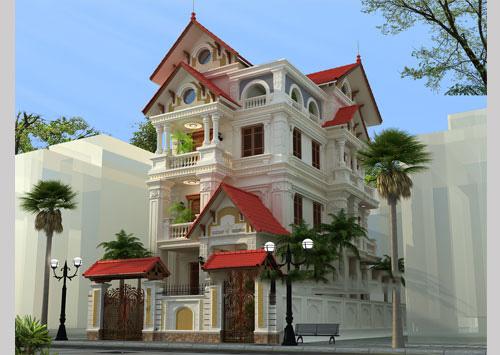 mẫu biệt thự đẹp 4 tầng phong cách cổ điển