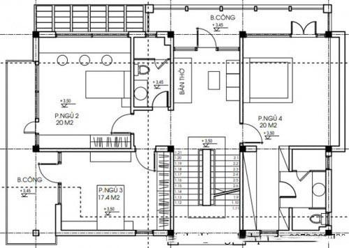 Mẫu biệt thự đẹp hiện đại 3 tầng diện tích 120m2 - Mặt bằng tầng 2