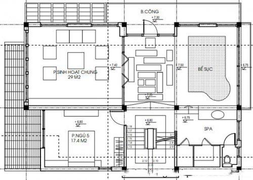 Mẫu biệt thự đẹp hiện đại 3 tầng diện tích 120m2 - Mặt bằng tầng 3