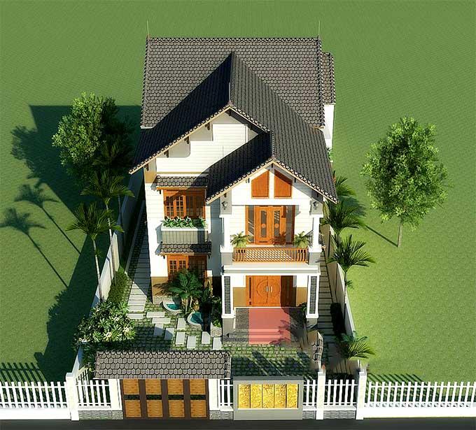 Mẫu biệt thự mái thái 2 tầng 4 phòng ngủ - Phối cảnh 1
