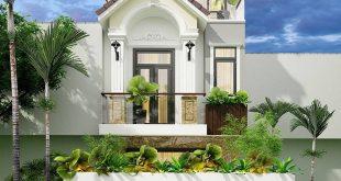 Mẫu biệt thự mái thái 3 tầng lệch phong cách tân cổ điển - Phối cảnh 1