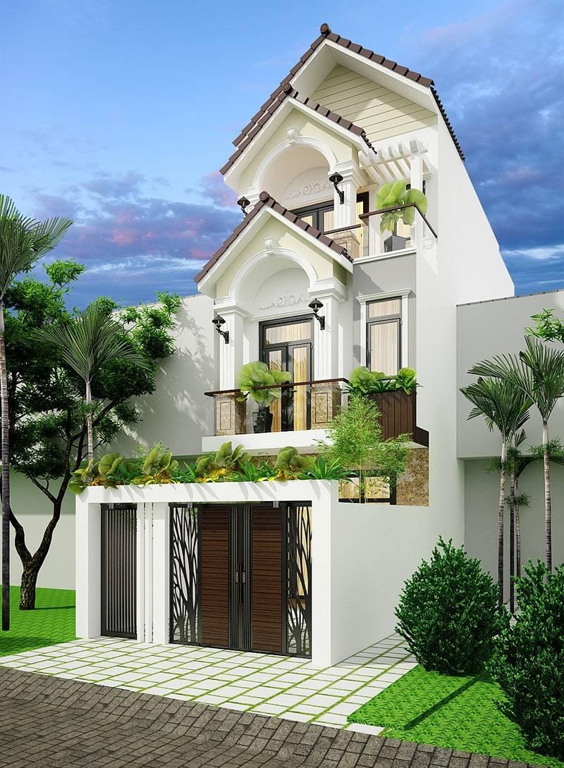 Mẫu biệt thự mái thái 3 tầng lệch phong cách tân cổ điển - Phối cảnh 2