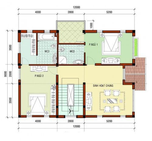 Mẫu biệt thự nhà đẹp 3 tầng 2 mặt tiền. 2