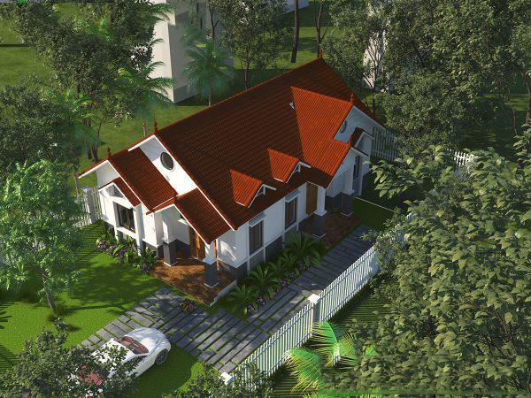 Mẫu biệt thự nhà vườn 1 tầng đẹp hút hồn. 3