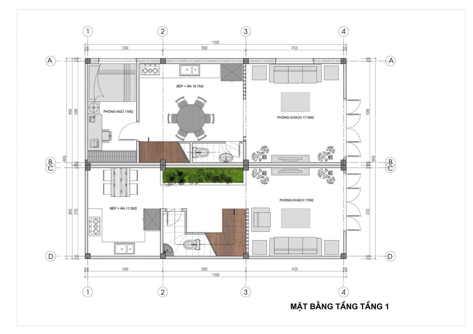 Mẫu biệt thự song lập 2 tầng 1 tum - Mặt bằng tầng 1