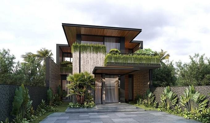 thiết kế biệt thự 2 tầng mái bằng