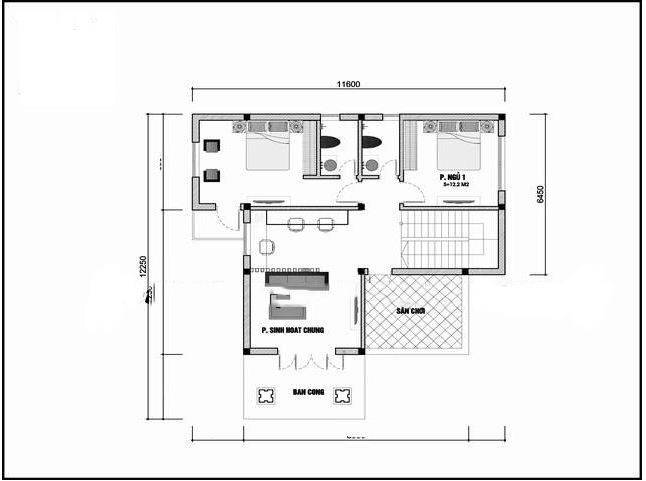 Mẫu nhà biệt thự hiện đại 2 tầng 110m2. 2