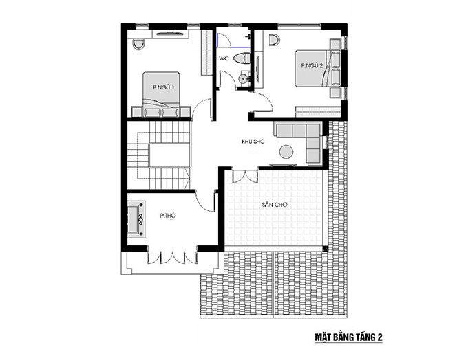 MB Tầng 2 - Mẫu thiết kế biệt thự 2 tầng tân cổ điển mái thái