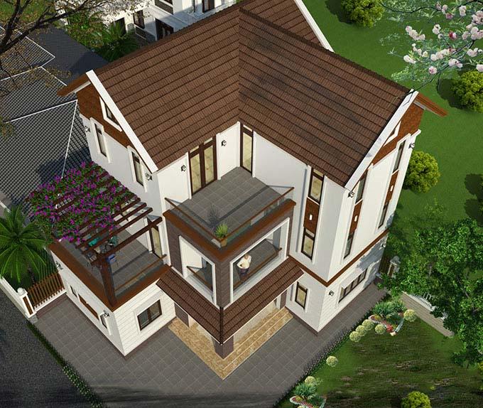 Góc chụp trên cao Mẫu thiết kế nhà 3 tầng 120m2