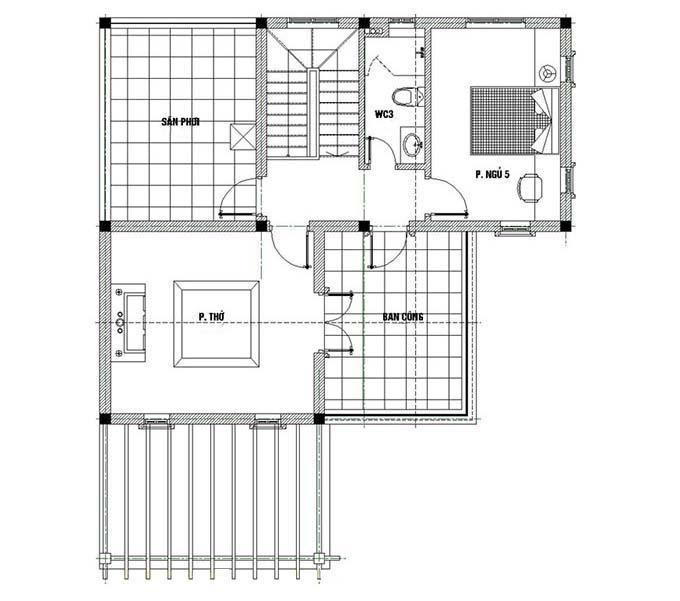 Tầng 3 Mẫu biệt thự đẹp 3 tầng 120m2