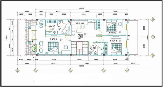 Mẫu thiết kế biệt thự 3 tầng kiểu Pháp 6x15m. 3