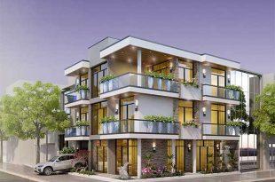Mẫu thiết kế biệt thự 3 tầng mái bằng - Phối cảnh 1