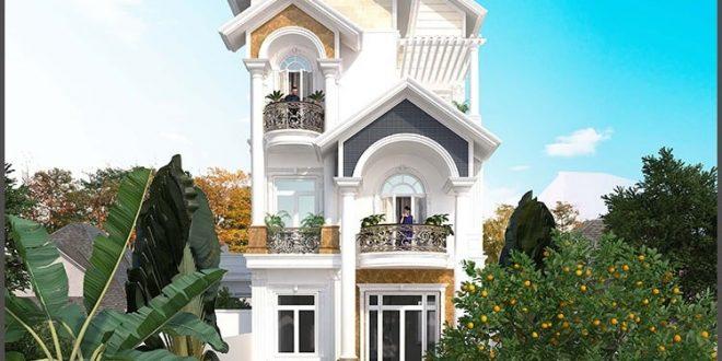 Thiết kế biệt thự 4 tầng bán cổ điển - Phối cảnh 1