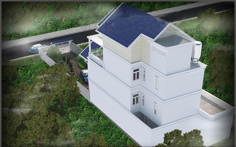 Thiết kế biệt thự 4 tầng bán cổ điển - Phối cảnh 2