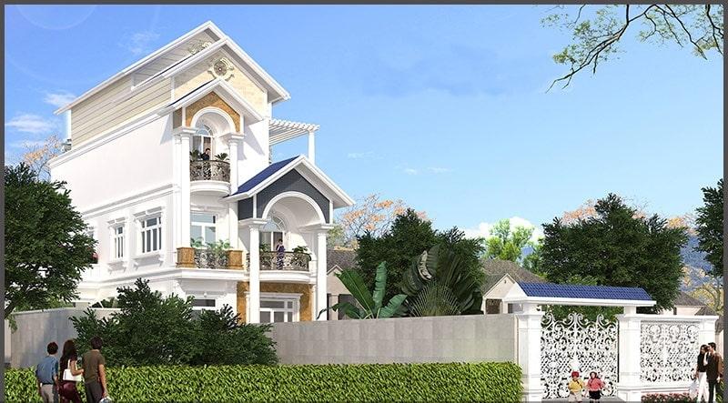 Thiết kế biệt thự 4 tầng bán cổ điển - Phối cảnh 3