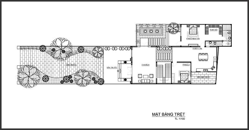 Thiết kế biệt thự 4 tầng bán cổ điển - Mặt bằng tầng trệt