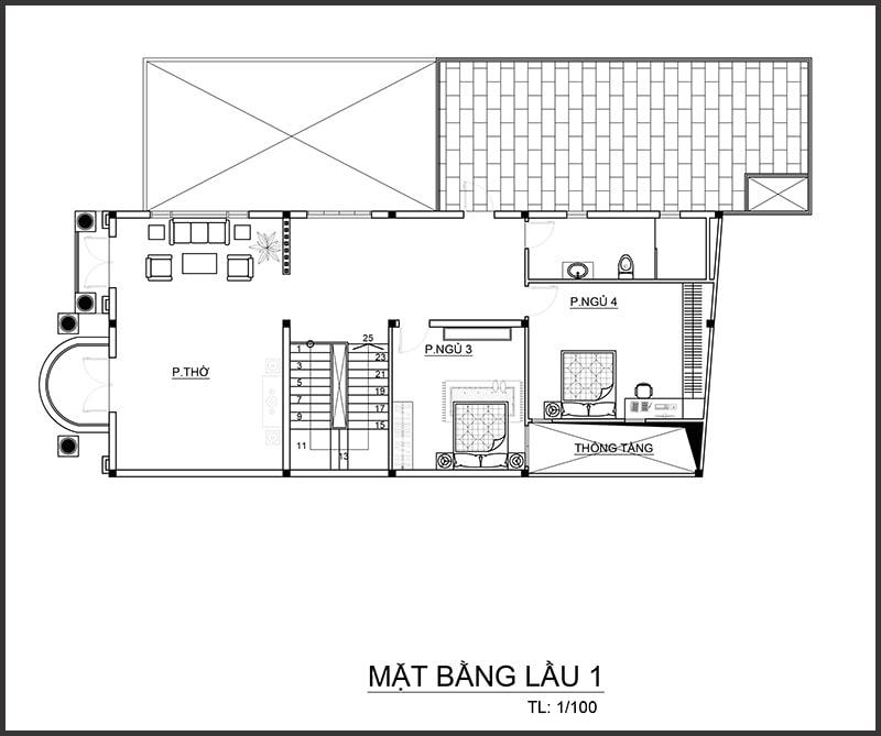 Thiết kế biệt thự 4 tầng bán cổ điển - Mặt bằng tầng 1