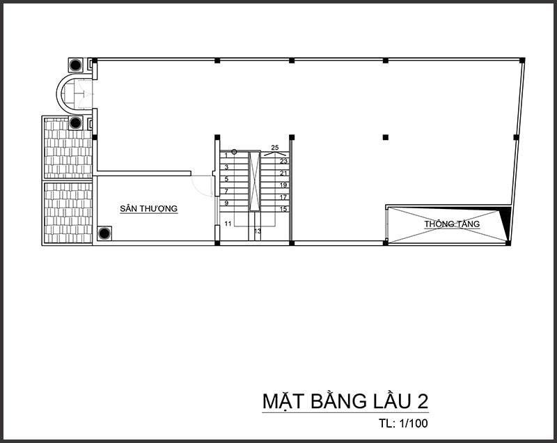 Thiết kế biệt thự 4 tầng bán cổ điển - Mặt bằng tầng 2