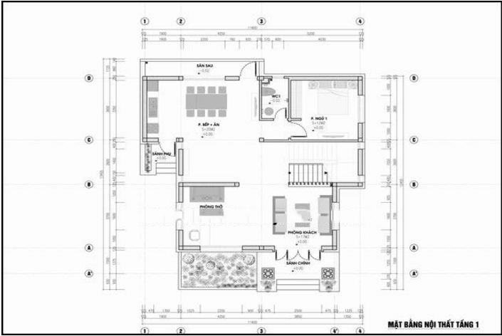 Mẫu thiết kế biệt thự đẹp 2 tầng hiện đại 11x13,5m. 1
