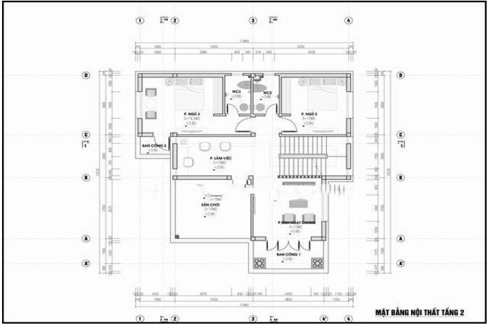 Mẫu thiết kế biệt thự đẹp 2 tầng hiện đại 11x13,5m. 2