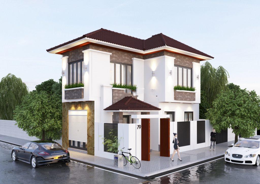 Mẫu thiết kế biệt thự đẹp 2 tầng mái thái 66m2