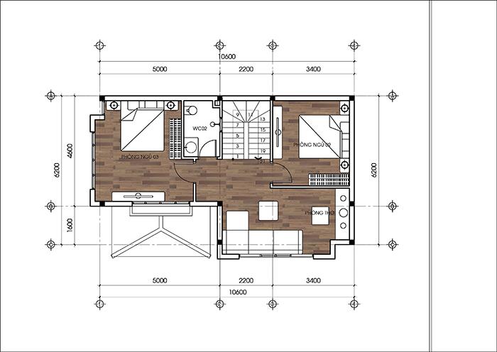 Mẫu thiết kế biệt thự đẹp 2 tầng mái thái 66m2. 3