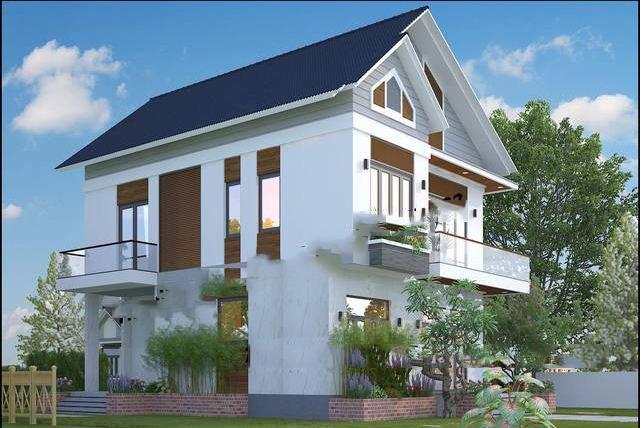 Mẫu biệt thự phố mái thái 9x13m 2 tầng đẹp trang nhã - PC 2