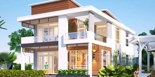 Phối cảnh mặt tiền mẫu thiết kế biệt thự đẹp 2 tầng
