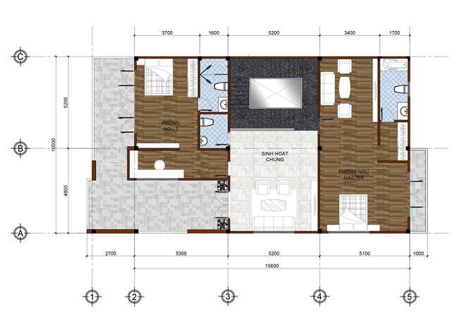 Mặt bằng tầng 1 mẫu thiết kế biệt thự đẹp 2 tầng