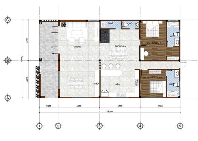 Mặt bằng tầng mái mẫu thiết kế biệt thự đẹp 2 tầng