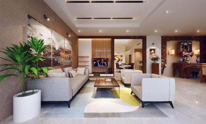 Phối cảnh phòng khách - Mẫu thiết kế biệt thự đẹp 2 tầng