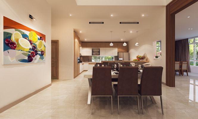 Phòng bếp + ăn - Mẫu thiết kế biệt thự đẹp 2 tầng
